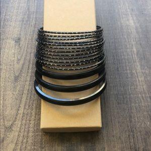 Black and gold bangle bracelets